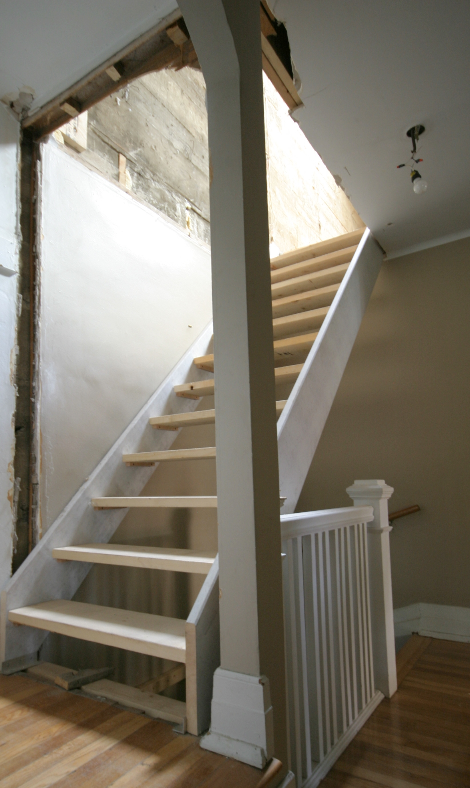 temporary stairs to attic renovation in progress