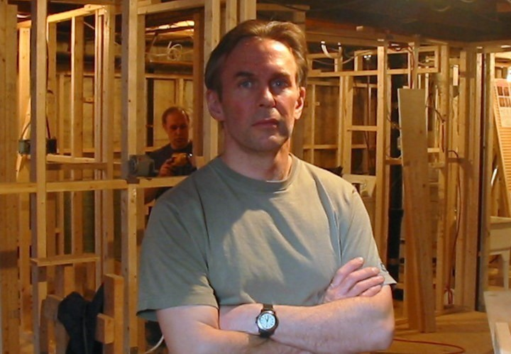 Job One: Glen (with Richard Arsenault) at ground zero, a basement reno on Wicksteed Avenue in TMR in 2003.
