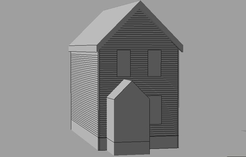 Exterior vestibule gable roof cad