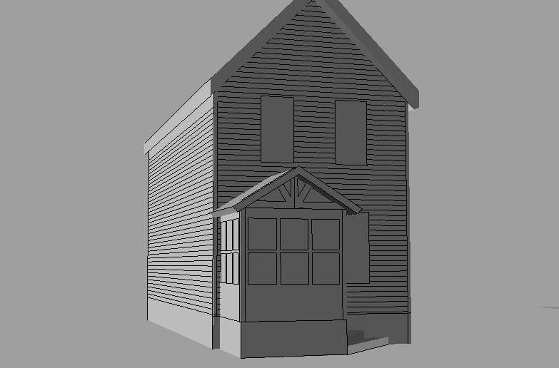 Craftsman style enclosed portico cad